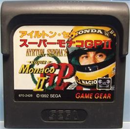 Cartridge artwork for Ayrton Senna's Super Monaco GP 2 on the Sega Game Gear.