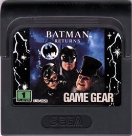 Cartridge artwork for Batman Returns on the Sega Game Gear.