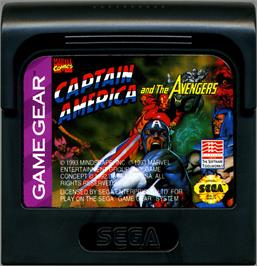 Cartridge artwork for Captain America and The Avengers on the Sega Game Gear.