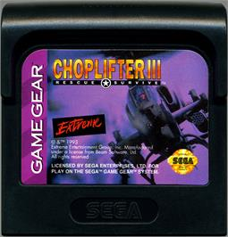 Cartridge artwork for Choplifter 3 on the Sega Game Gear.
