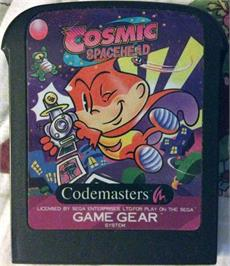 Cartridge artwork for Cosmic Spacehead on the Sega Game Gear.