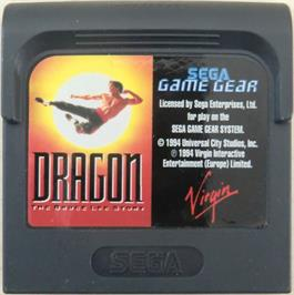 Cartridge artwork for Dragon: The Bruce Lee Story on the Sega Game Gear.