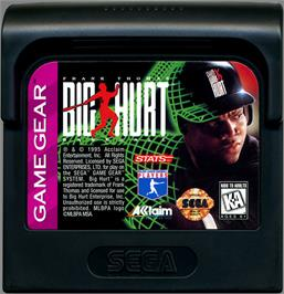 Cartridge artwork for Frank Thomas Big Hurt Baseball on the Sega Game Gear.