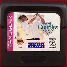 Cartridge artwork for Fred Couples Golf on the Sega Game Gear.