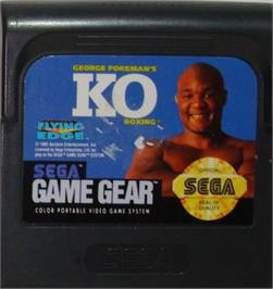 Cartridge artwork for George Foreman's KO Boxing on the Sega Game Gear.