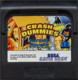 Cartridge artwork for Incredible Crash Dummies on the Sega Game Gear.