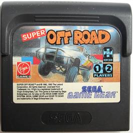 Cartridge artwork for Ironman Ivan Stewart's Super Off-Road on the Sega Game Gear.