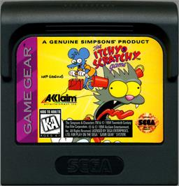 Cartridge artwork for Itchy & Scratchy Game on the Sega Game Gear.