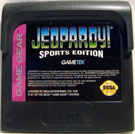 Cartridge artwork for Jeopardy! Sports Edition on the Sega Game Gear.