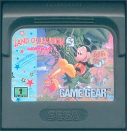 Cartridge artwork for Land of Illusion starring Mickey Mouse on the Sega Game Gear.