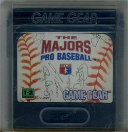 Cartridge artwork for Majors Pro Baseball on the Sega Game Gear.