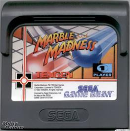 Cartridge artwork for Marble Madness on the Sega Game Gear.
