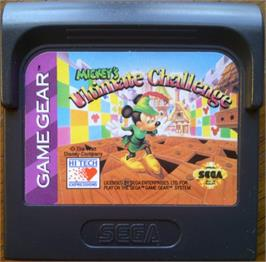 Cartridge artwork for Mickey's Ultimate Challenge on the Sega Game Gear.