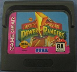 Cartridge artwork for Mighty Morphin Power Rangers on the Sega Game Gear.