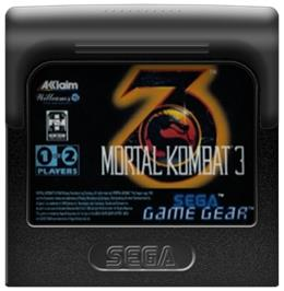 Cartridge artwork for Mortal Kombat 3 on the Sega Game Gear.