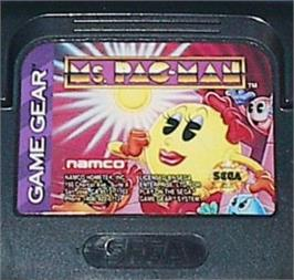 Cartridge artwork for Ms. Pac-Man on the Sega Game Gear.