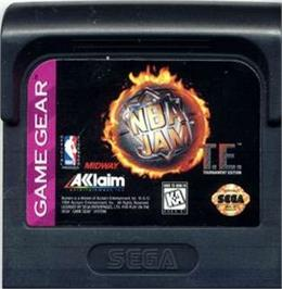 Cartridge artwork for NBA Jam TE on the Sega Game Gear.