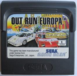 Cartridge artwork for Out Run Europa on the Sega Game Gear.