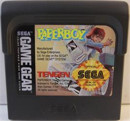 Cartridge artwork for Paperboy on the Sega Game Gear.