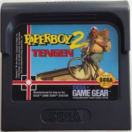 Cartridge artwork for Paperboy 2 on the Sega Game Gear.