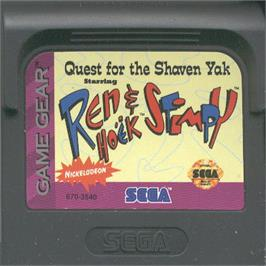 Cartridge artwork for Quest for the Shaven Yak starring Ren Hoëk & Stimpy on the Sega Game Gear.