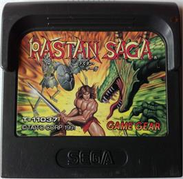 Cartridge artwork for Rastan Saga on the Sega Game Gear.