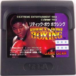 Cartridge artwork for Riddick Bowe Boxing on the Sega Game Gear.