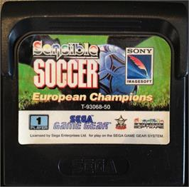Cartridge artwork for Sensible Soccer: European Champions: 92/93 Edition on the Sega Game Gear.