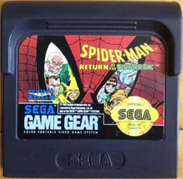 Cartridge artwork for Spider-Man: Return of the Sinister Six on the Sega Game Gear.