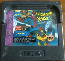 Cartridge artwork for Spider-Man and the X-Men: Arcade's Revenge on the Sega Game Gear.