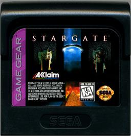 Cartridge artwork for Stargate on the Sega Game Gear.