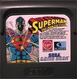 Cartridge artwork for Superman: The Man of Steel on the Sega Game Gear.