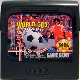 Cartridge artwork for Tengen World Cup Soccer on the Sega Game Gear.