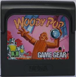 Cartridge artwork for Woody Pop on the Sega Game Gear.