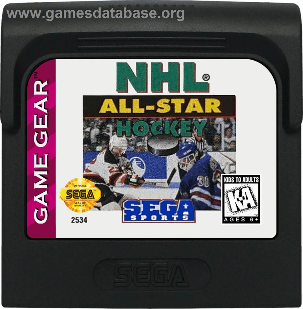 Cartridge artwork for NHL All-Star Hockey on the Sega Game Gear.
