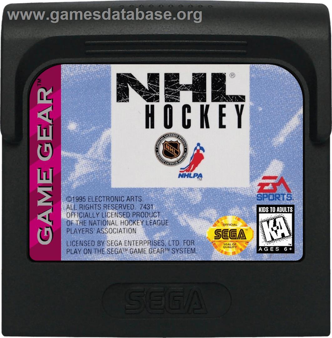 Cartridge artwork for NHL Hockey on the Sega Game Gear.