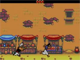 In game image of Aladdin on the Sega Game Gear.