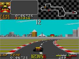 In game image of Ayrton Senna's Super Monaco GP 2 on the Sega Game Gear.