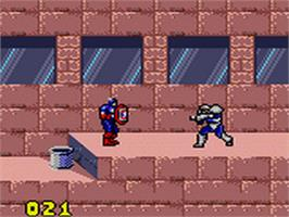 In game image of Captain America and The Avengers on the Sega Game Gear.