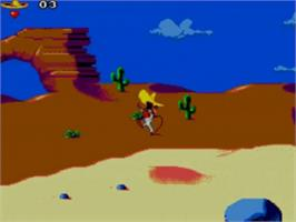 In game image of Cheese Cat-Astrophe starring Speedy Gonzales on the Sega Game Gear.