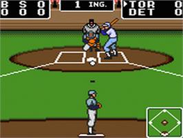 In game image of Clutch Hitter on the Sega Game Gear.