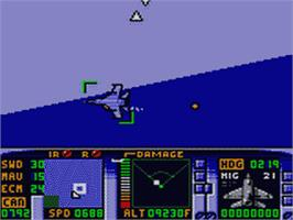 In game image of F-15 Strike Eagle on the Sega Game Gear.