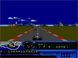 In game image of F1 on the Sega Game Gear.