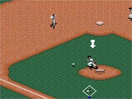 In game image of Frank Thomas Big Hurt Baseball on the Sega Game Gear.