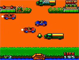 In game image of Frogger on the Sega Game Gear.