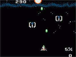 In game image of Halley Wars on the Sega Game Gear.