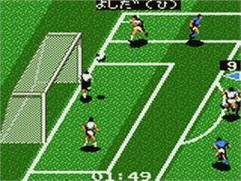 In game image of J-League GG Pro Striker '94 on the Sega Game Gear.