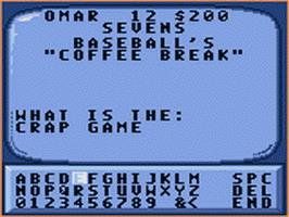 In game image of Jeopardy on the Sega Game Gear.