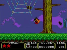 In game image of Land of Illusion starring Mickey Mouse on the Sega Game Gear.