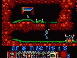 In game image of Lemmings on the Sega Game Gear.